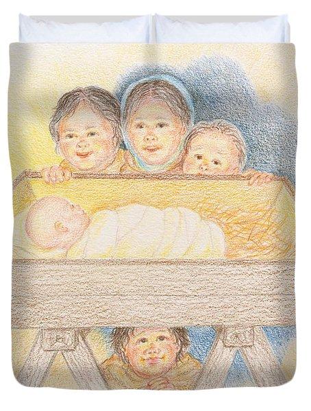 O Come Little Children - Christmas Card Duvet Cover