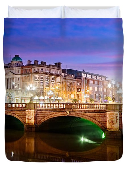 Duvet Cover featuring the photograph O Connell Bridge At Night - Dublin by Barry O Carroll