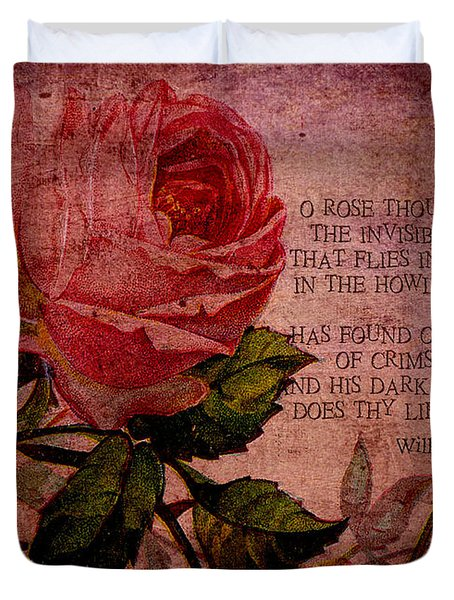 O Rose Thou Art Sick Duvet Cover by Sarah Vernon