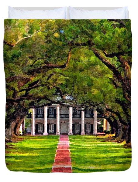 Oak Alley Paint Version Duvet Cover by Steve Harrington