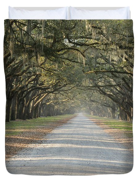 Duvet Cover featuring the photograph Oak Avenue by Bradford Martin