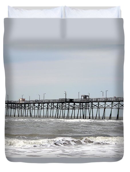 Oak Island Beach Pier Duvet Cover
