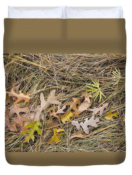 Oak Leaves On Grass Duvet Cover
