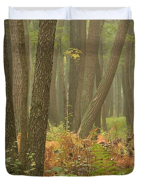 Oak Openings Fog Forest Duvet Cover