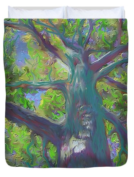 Duvet Cover featuring the painting Oak Tree 1 by Hidden  Mountain