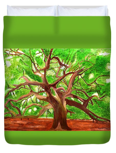 Duvet Cover featuring the painting Oak Tree by Magdalena Frohnsdorff