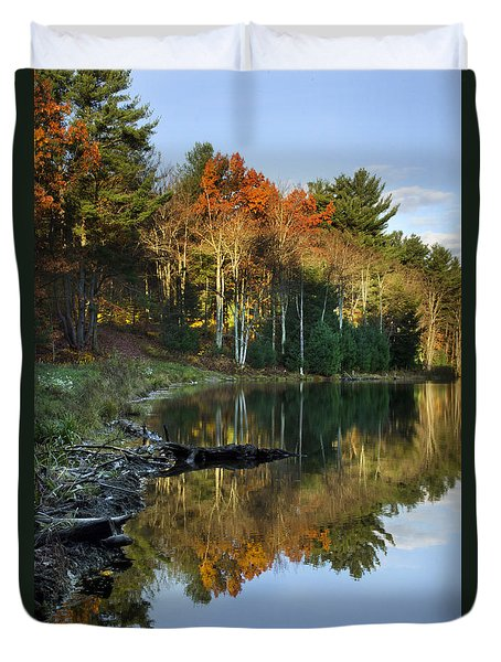 Duvet Cover featuring the photograph Oakley Corners State Forest by Christina Rollo