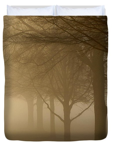 Duvet Cover featuring the photograph Oaks In The Fog by Greg Simmons