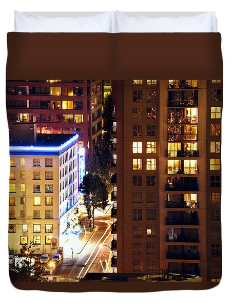 Duvet Cover featuring the photograph Observation - Man In Window Dclxxxi by Amyn Nasser