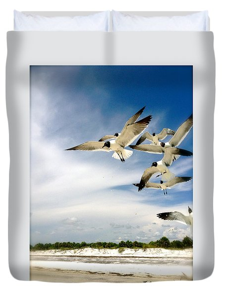 Duvet Cover featuring the photograph Ocean Birds by Iconic Images Art Gallery David Pucciarelli