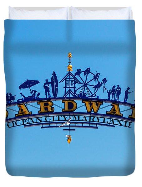 Ocean City Boardwalk Arch Duvet Cover