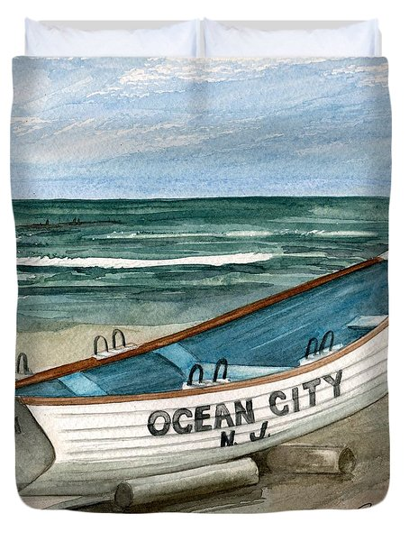 Ocean City Lifeguard Boat 2  Duvet Cover by Nancy Patterson