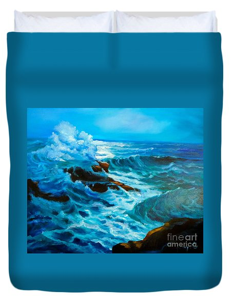 Duvet Cover featuring the painting Ocean Deep by Jenny Lee