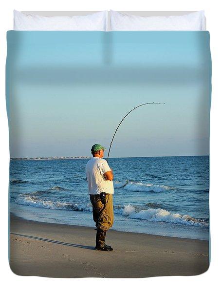 Duvet Cover featuring the photograph Ocean Fishing by Cynthia Guinn