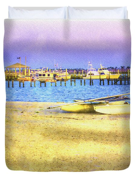 Coastal - Beach - Boats - Ocean Front Property Duvet Cover
