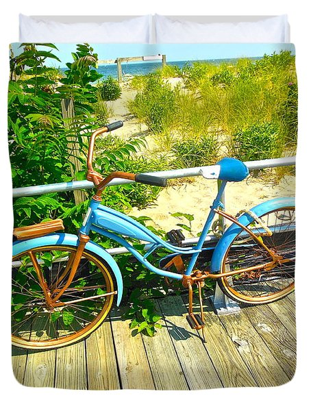 Duvet Cover featuring the photograph Ocean Grove Bike by Joan Reese