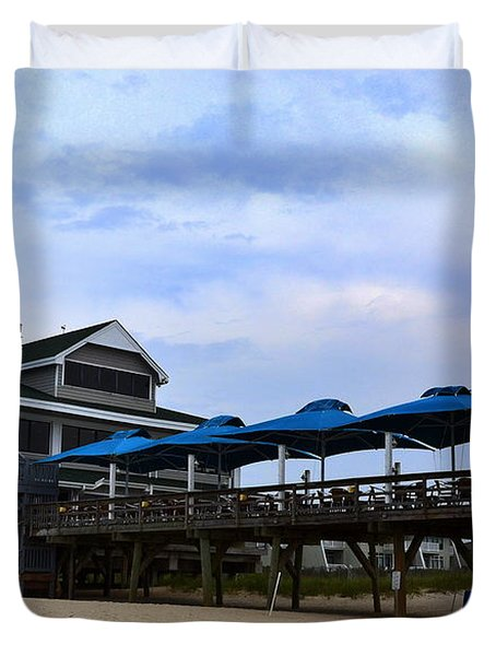 Ocean Pier And Restaurant Duvet Cover