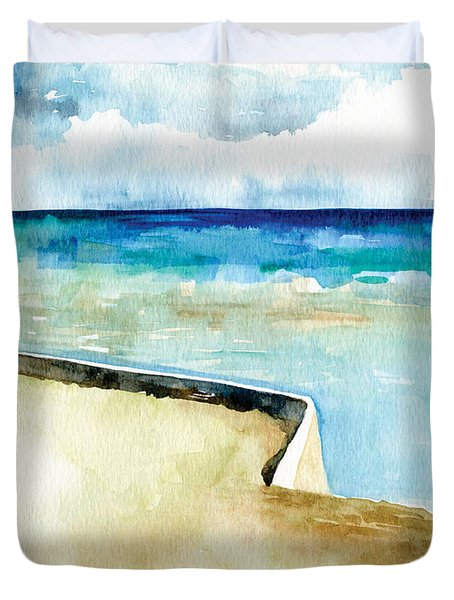 Ocean Pier In Key West Florida Duvet Cover