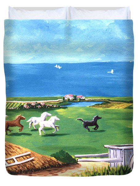 Duvet Cover featuring the painting Ocean Ranch by Lance Headlee