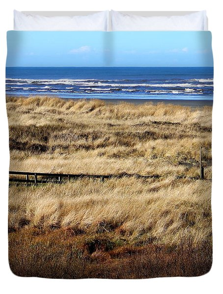 Duvet Cover featuring the photograph Ocean Shores Boardwalk by Jeanette C Landstrom