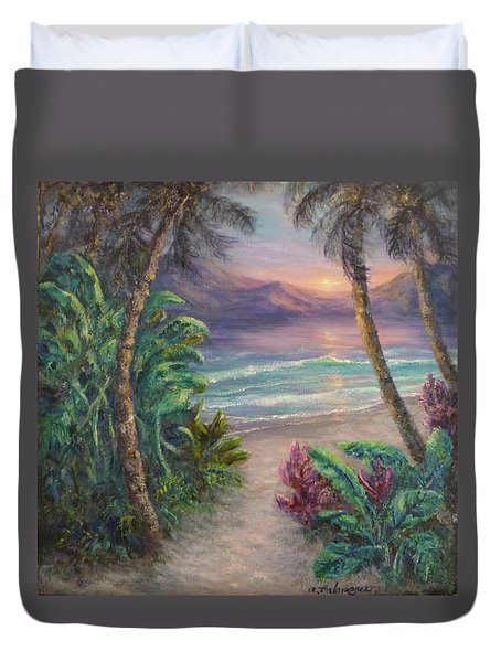 Ocean Sunrise Painting With Tropical Palm Trees  Duvet Cover
