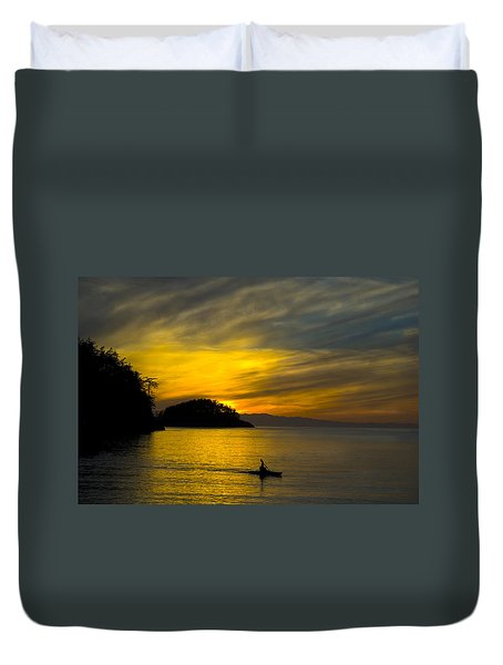 Ocean Sunset At Rosario Strait Duvet Cover