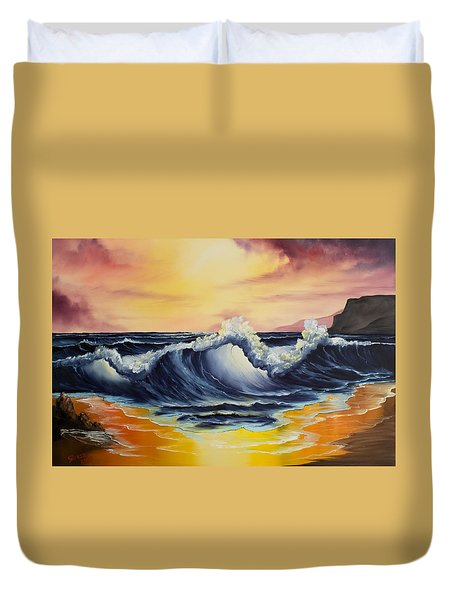 Ocean Sunset Duvet Cover by C Steele