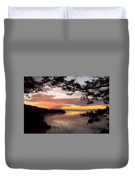 Duvet Cover featuring the photograph Ocean Sunset Deception Pass by Yulia Kazansky