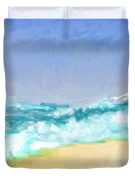 Duvet Cover featuring the painting Ocean Vigor by Kristen Fox