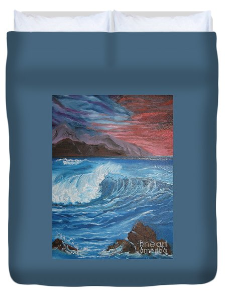 Duvet Cover featuring the painting Ocean Wave by Jenny Lee