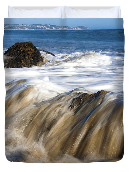 Ocean Waves Breaking Over The Rocks Photography Duvet Cover by Jerry Cowart
