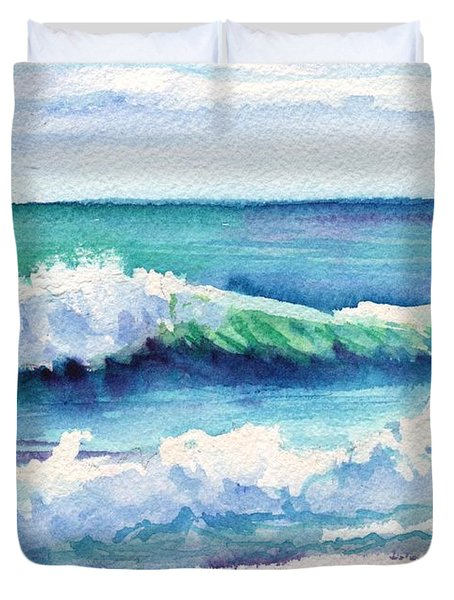 Duvet Cover featuring the painting Ocean Waves Of Kauai I by Marionette Taboniar