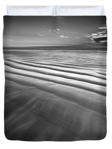 Ocean Waves Seascape Beach Sunrise Photograph In Black And White Duvet Cover
