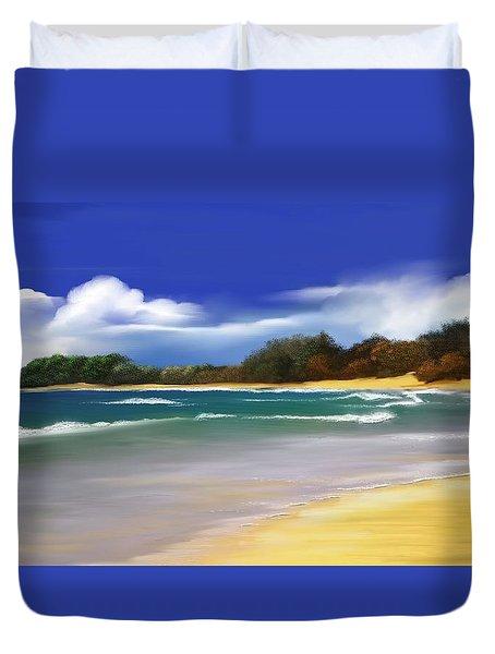 Duvet Cover featuring the digital art Oceanside Dream by Anthony Fishburne