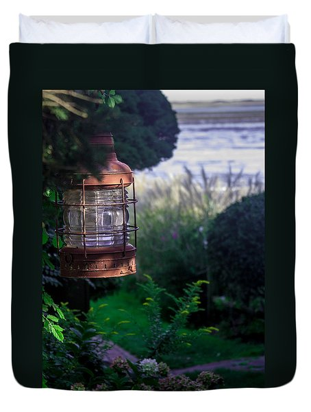 Duvet Cover featuring the photograph Oceanside Lantern by Patrice Zinck