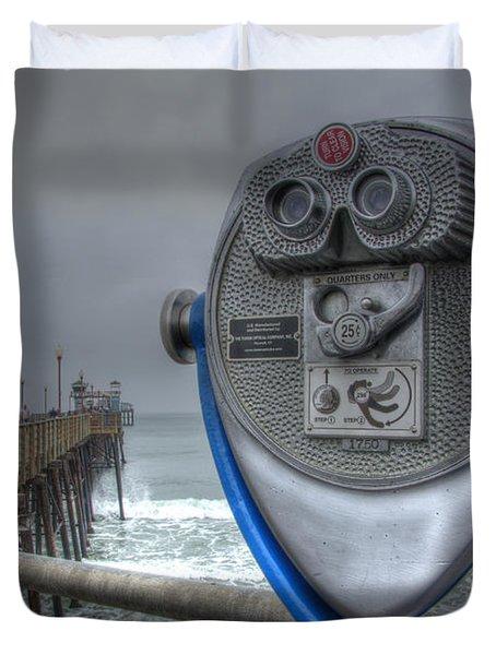 Oceanside Pier California Binocular Vision Duvet Cover by Bob Christopher