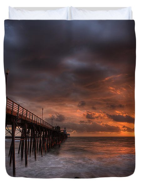 Oceanside Pier Perfect Sunset Duvet Cover