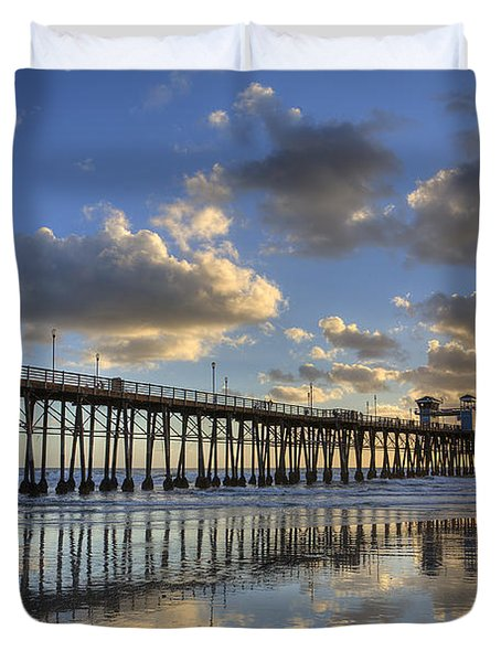 Oceanside Pier Sunset Reflection Duvet Cover