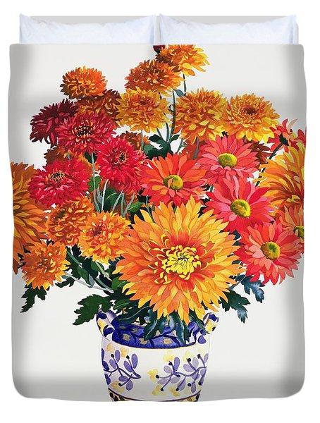 October Chrysanthemums Duvet Cover by Christopher Ryland