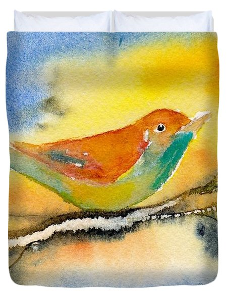 Duvet Cover featuring the painting October Fourth by Anne Duke