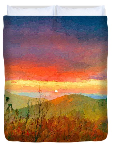 October Sunrise Painting On The Blue Ridge Parkway Duvet Cover