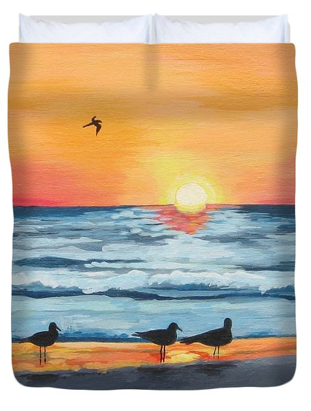 October Sunset On Siesta Key Florida Duvet Cover