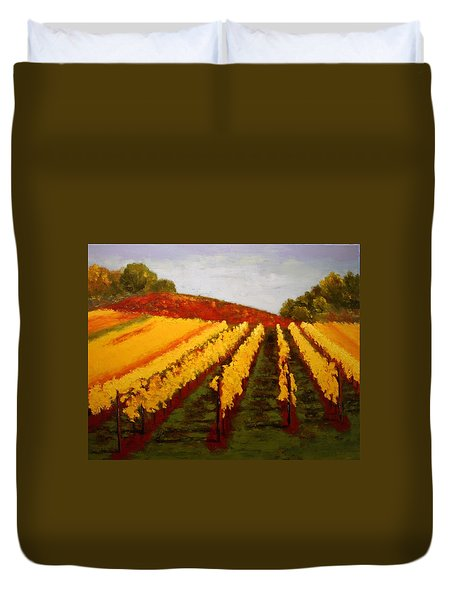 Duvet Cover featuring the painting October Vineyard by Nancy Jolley