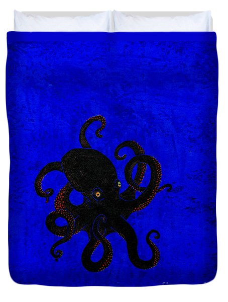 Octopus Black And Blue Duvet Cover by Stefanie Forck