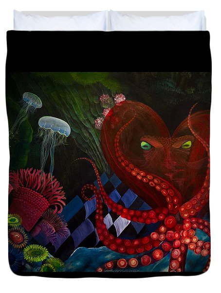 Octopus Heart Duvet Cover by Adria Trail