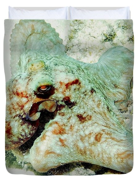 Octopus On The Reef Duvet Cover by Amy McDaniel