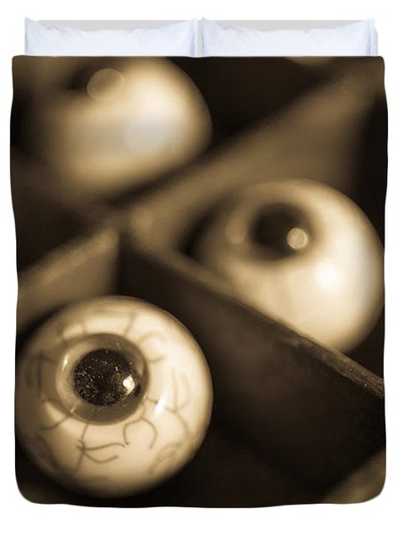 Oddities Fake Eyeballs Duvet Cover by Edward Fielding