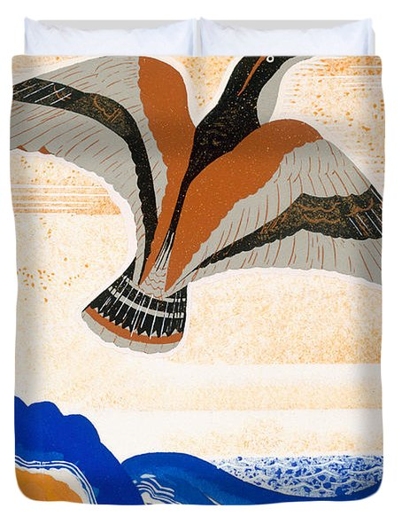 Odyssey Illustration  Bird Of Potent Duvet Cover by Francois-Louis Schmied