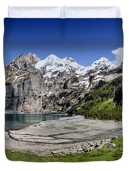 Duvet Cover featuring the photograph Oeschinen Lake by Carsten Reisinger
