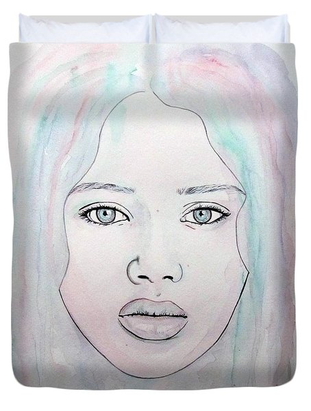 Duvet Cover featuring the mixed media Of Colour And Beauty - Blue by Malinda Prudhomme